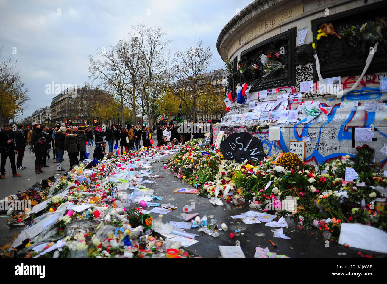 Homage to the victims of terrorist attacks in Paris. France. - Stock Image