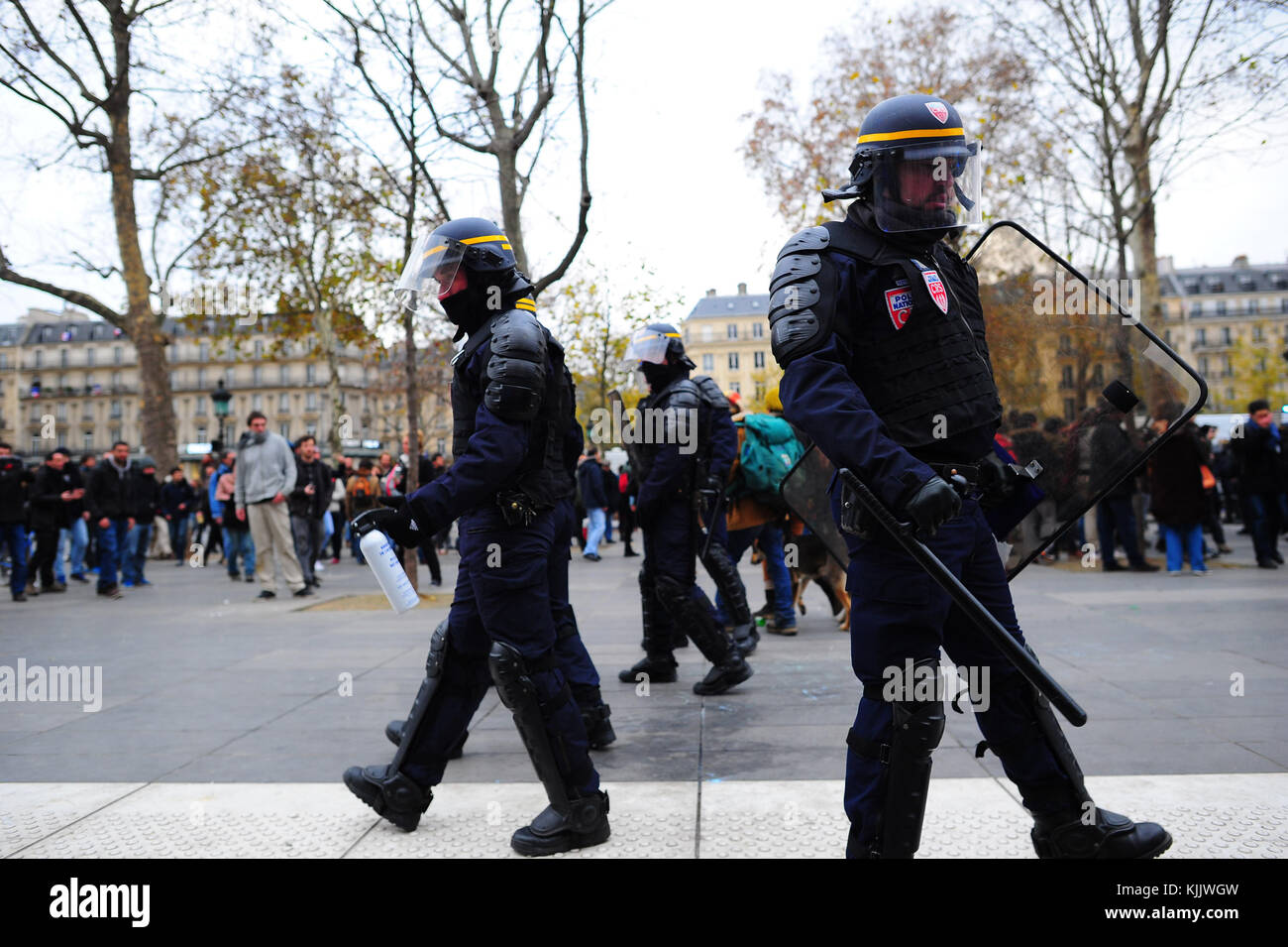 Riot police in Paris. France. - Stock Image