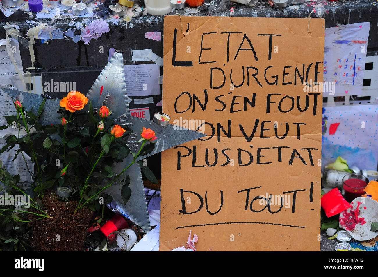 No more state of emergency! placard in Paris. France. Stock Photo