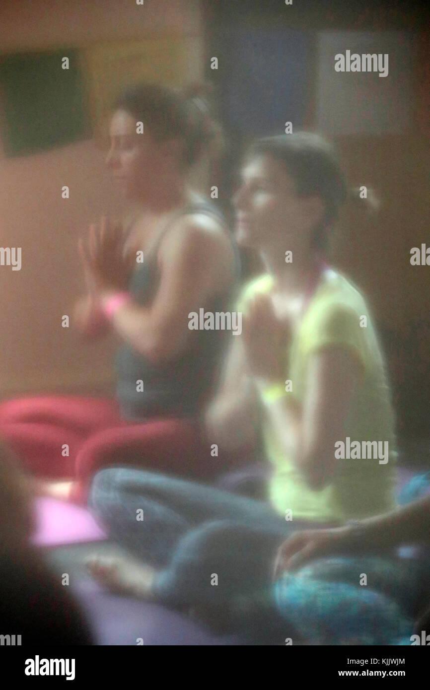 Chamonix Yoga Festival.  Yoga class.  France. Stock Photo