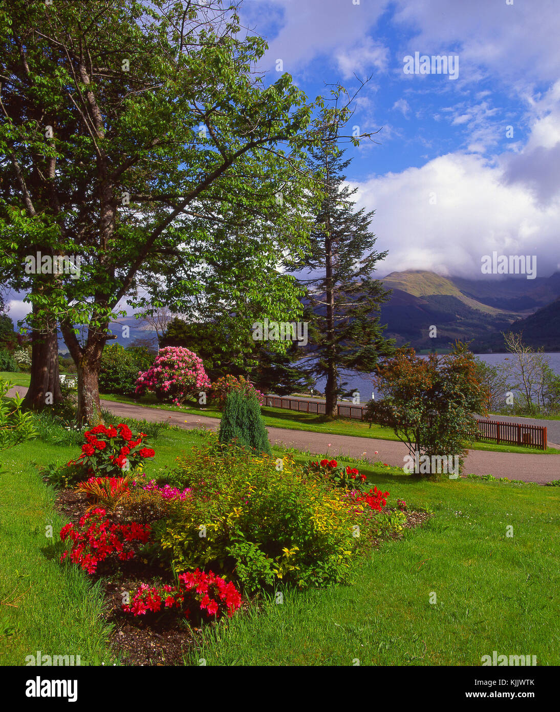 Beautiful spring view from Onich on the north side of Loch Leven looking towards the Ballachulish hills, Onich, - Stock Image