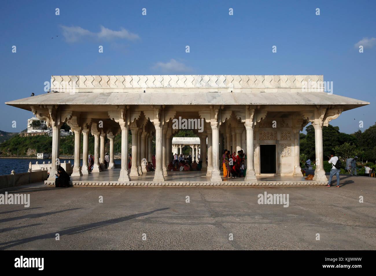 Baradari built by Shah jahan at lake Anasagar, Ajmer, India. Stock Photo