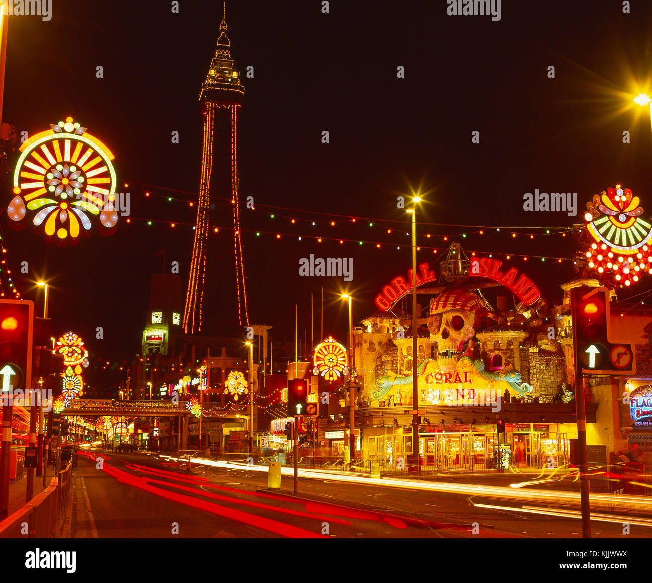 Colourful scene in central Blackpool during the late summer illuminations from promenade, Blackpool, Lancashire, Stock Photo