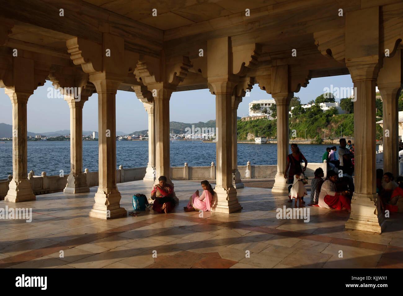 Baradari built by Shah jahan at lake Anasagar, Ajmer, India. - Stock Image