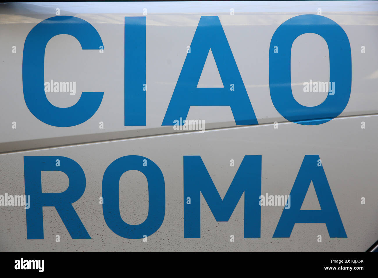 Sign on a minibus. Rome.  Italy. - Stock Image