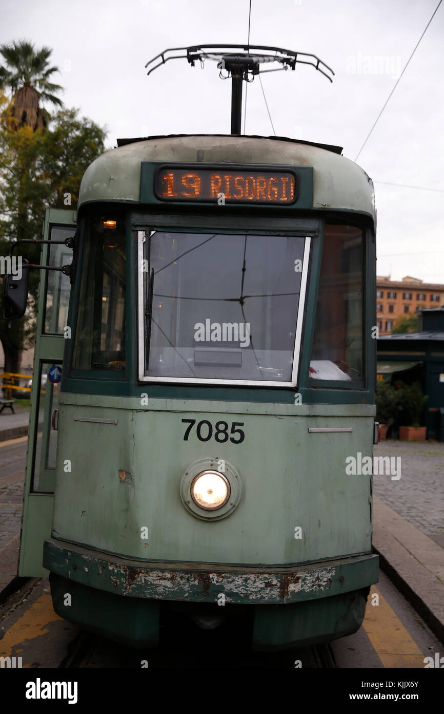 Tramway in Rome. Italy. - Stock Image