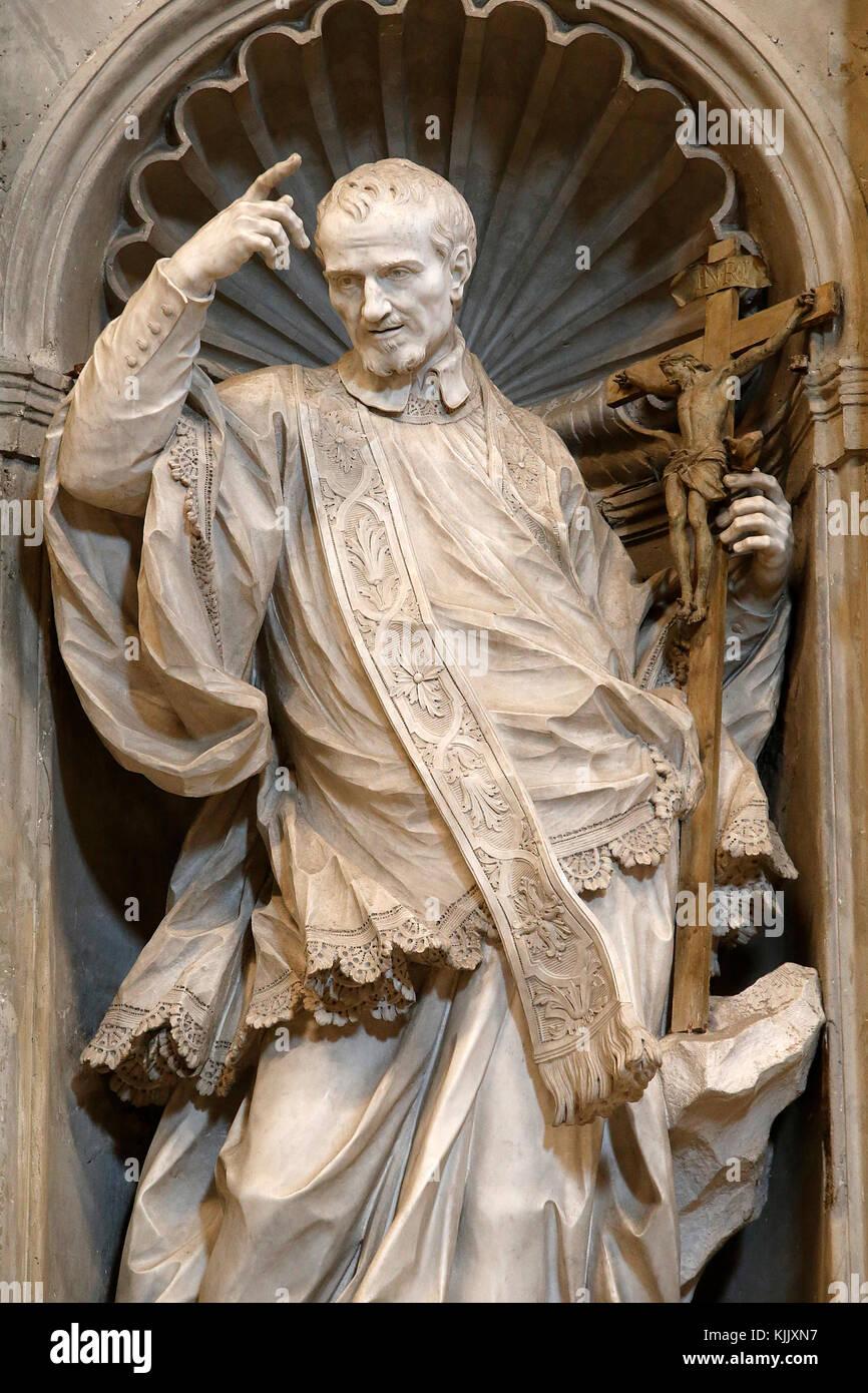 Statue in St Peter's basilica, Rome. Saint Vincent de Paul. Italy. - Stock Image