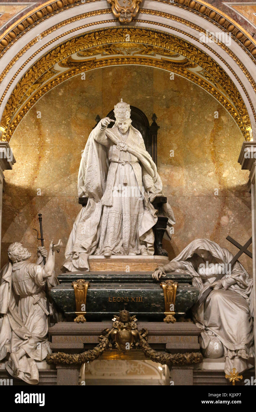 Pope Leon XIII monument in St John in Laterano's church, Rome. Italy. - Stock Image
