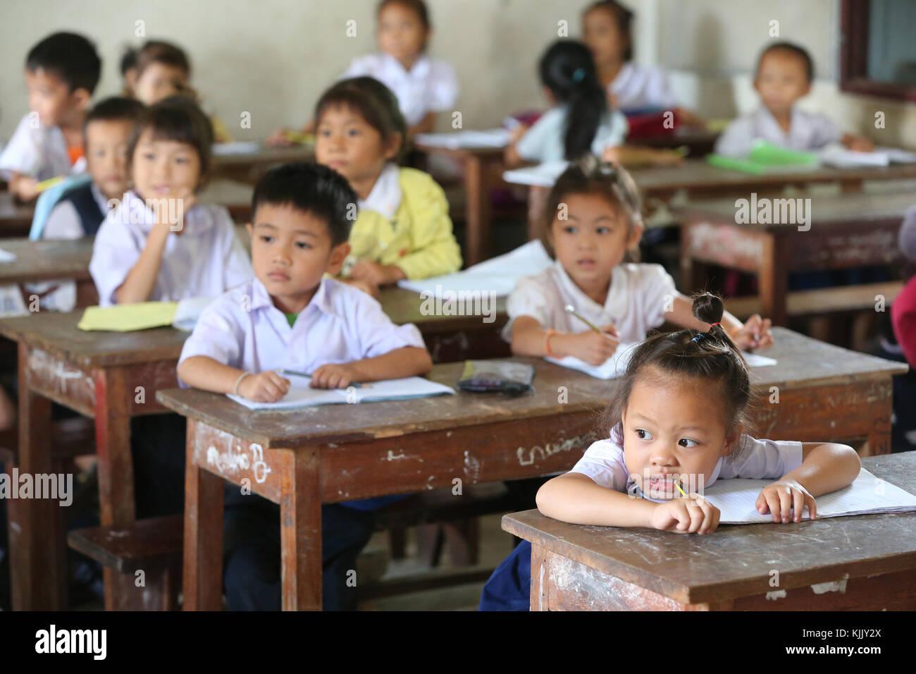 Elementary school.  Schoolchildren in classroom.  Laos. - Stock Image