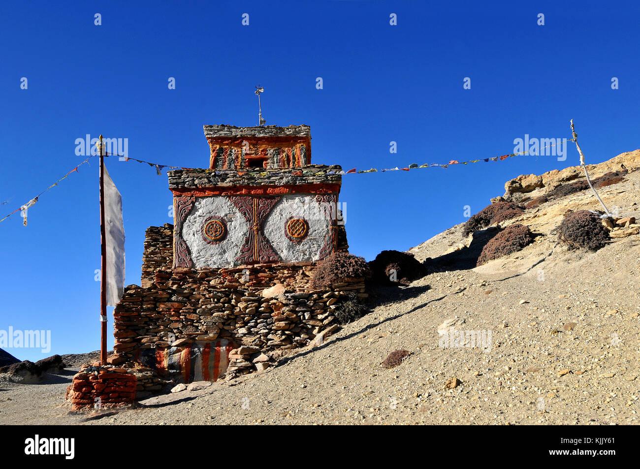 Chšrtens (stupa) in Samar, Mustang. Nepal. Stock Photo