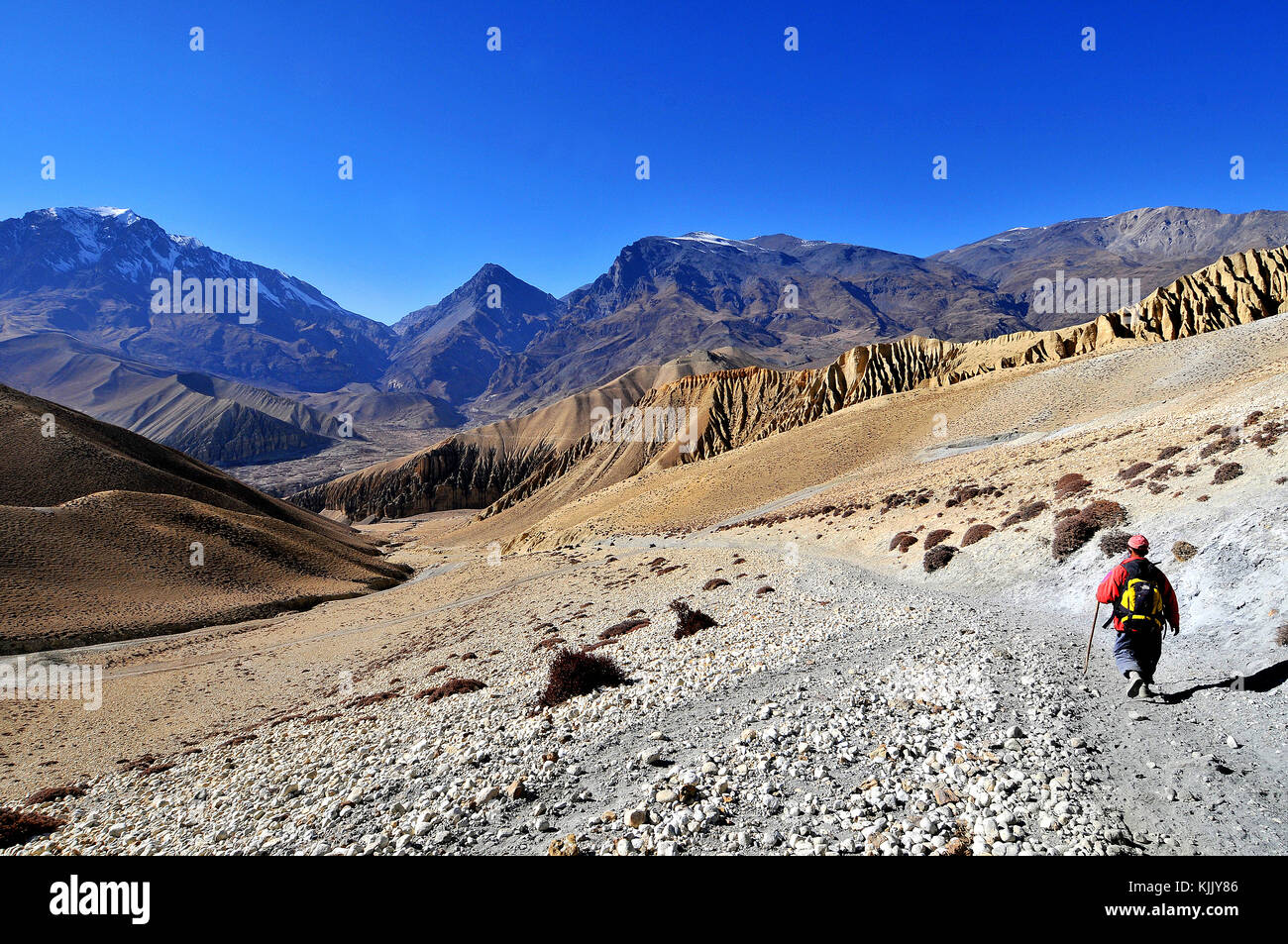Trekker in Mustang. Nepal. - Stock Image