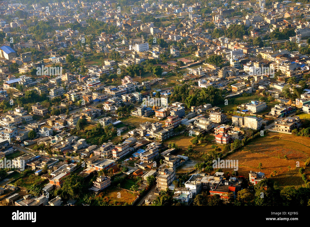Aerial view of Pokhara. Nepal. - Stock Image