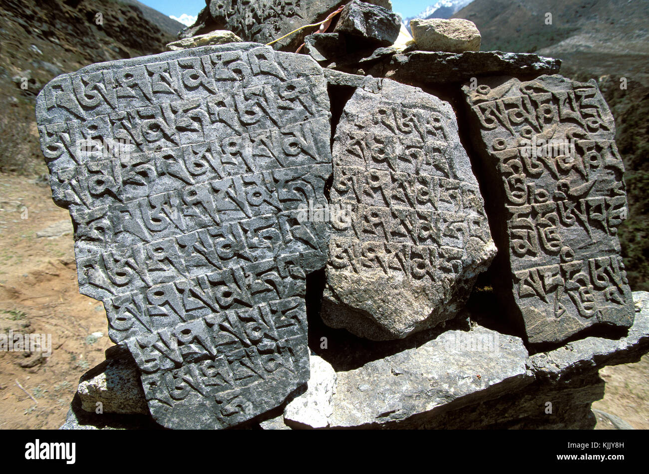 Tibetan mantras engraved on stones along the Nepalese trails