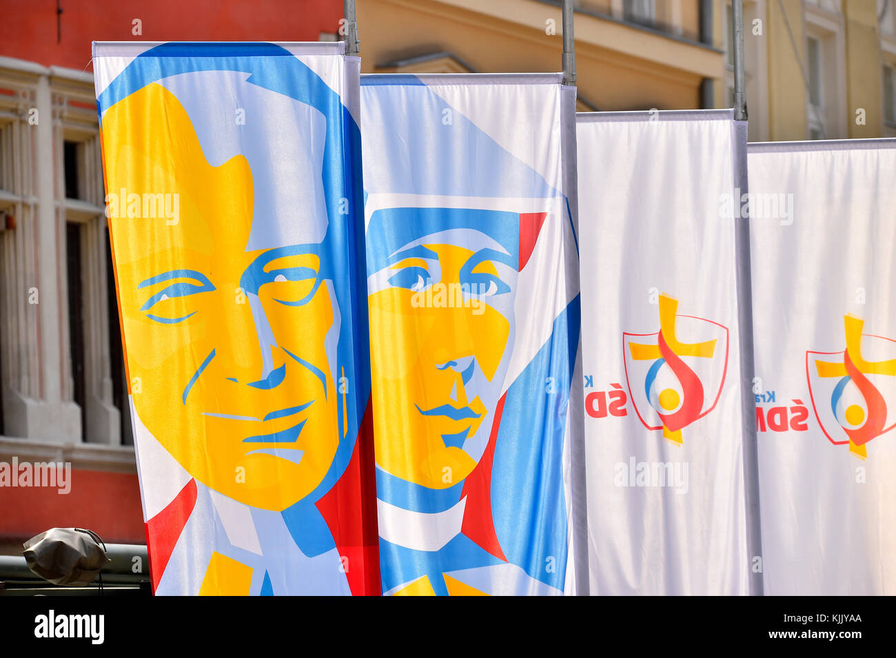 World Youth Day. Krakow. 2016. Banners. Poland. - Stock Image