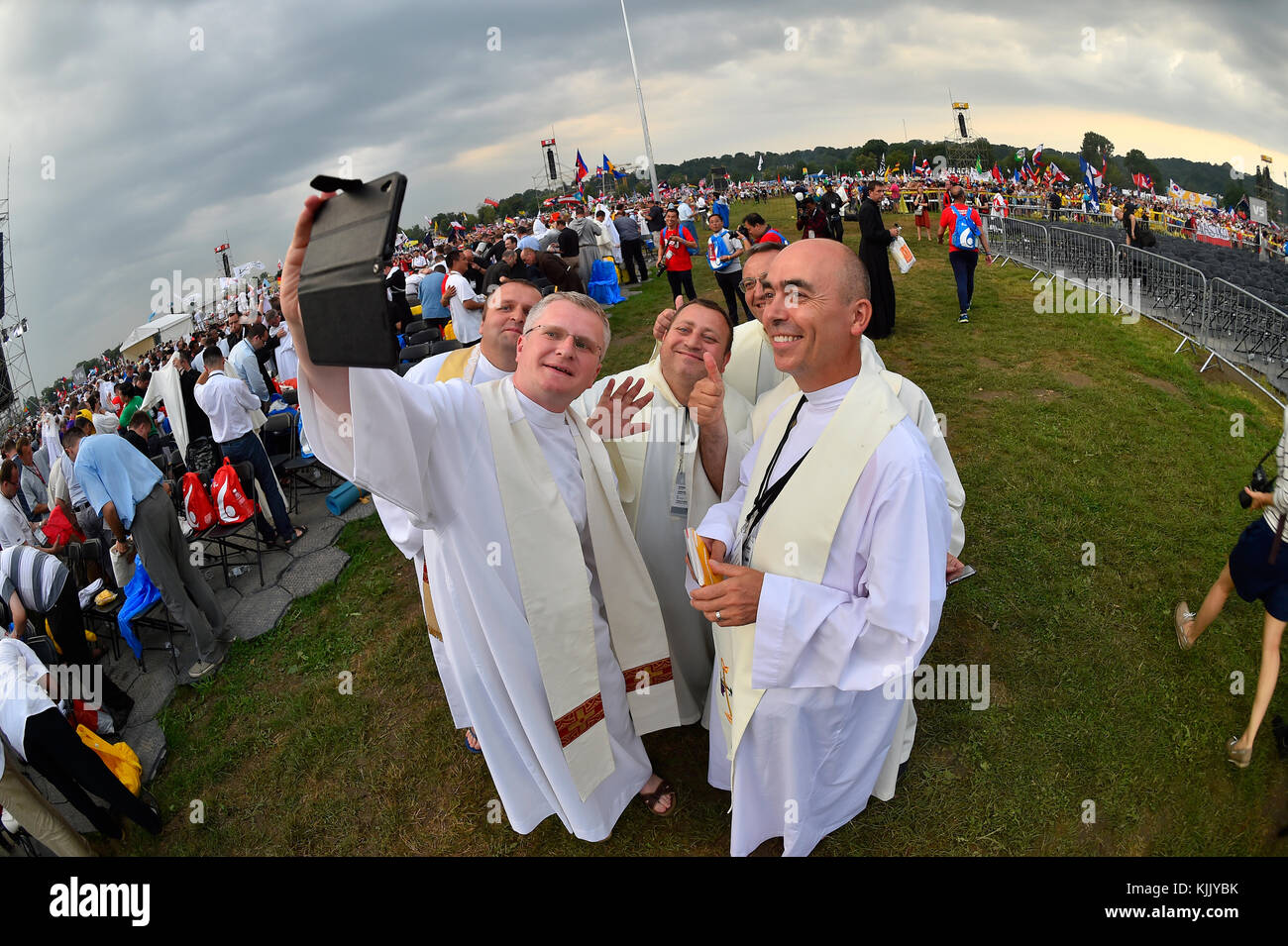 World Youth Day. Krakow. 2016. Selfie. Poland. Stock Photo