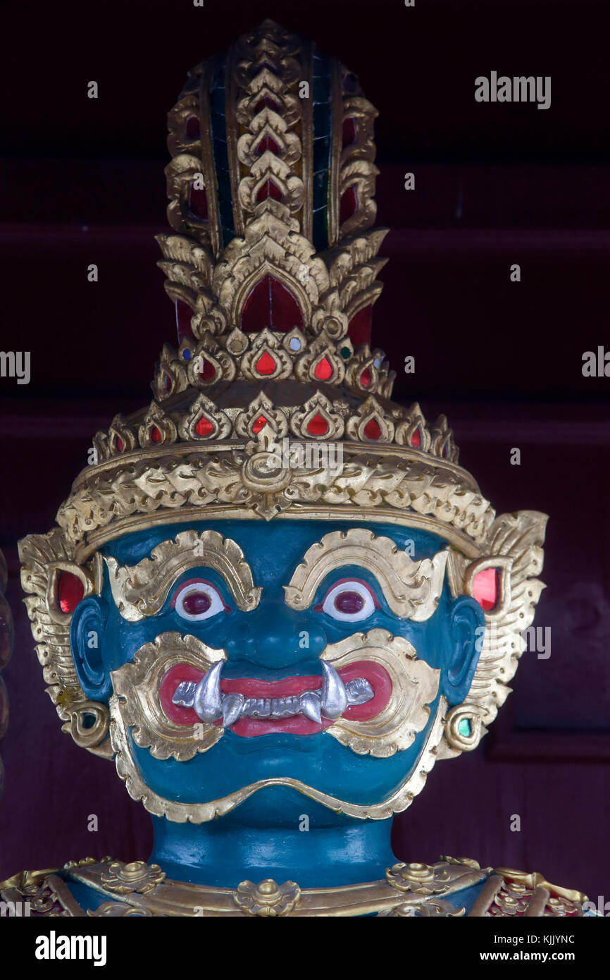 Detail of a 'Yak' figure guarding the bot entrance of Wat Chedi Luang. Thailand. - Stock Image