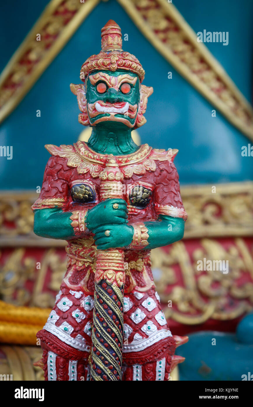 Yak figure guarding the bot entrance of Wat Chedi Luang. Thailand. - Stock Image