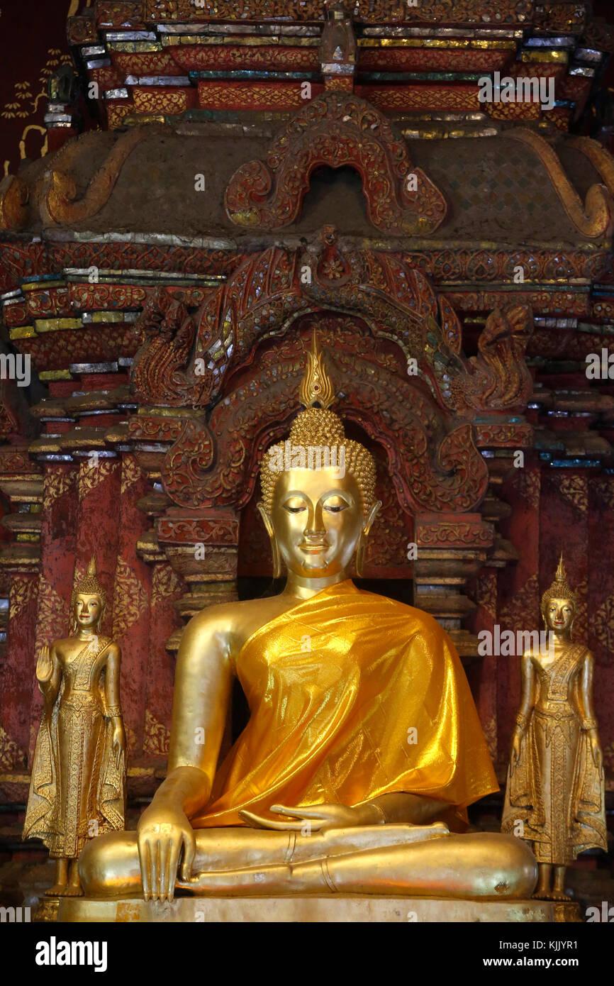 Buddha statue in Wat Chiang Mun, Chiang Mai. Thailand. - Stock Image