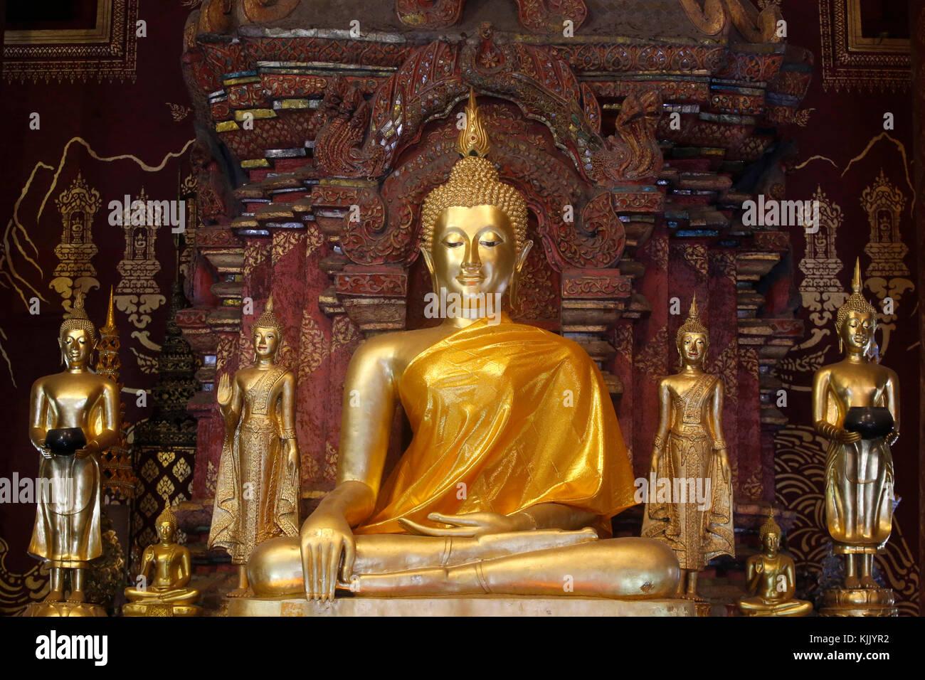Buddha statues in Wat Chiang Mun, Chiang Mai. Thailand. - Stock Image