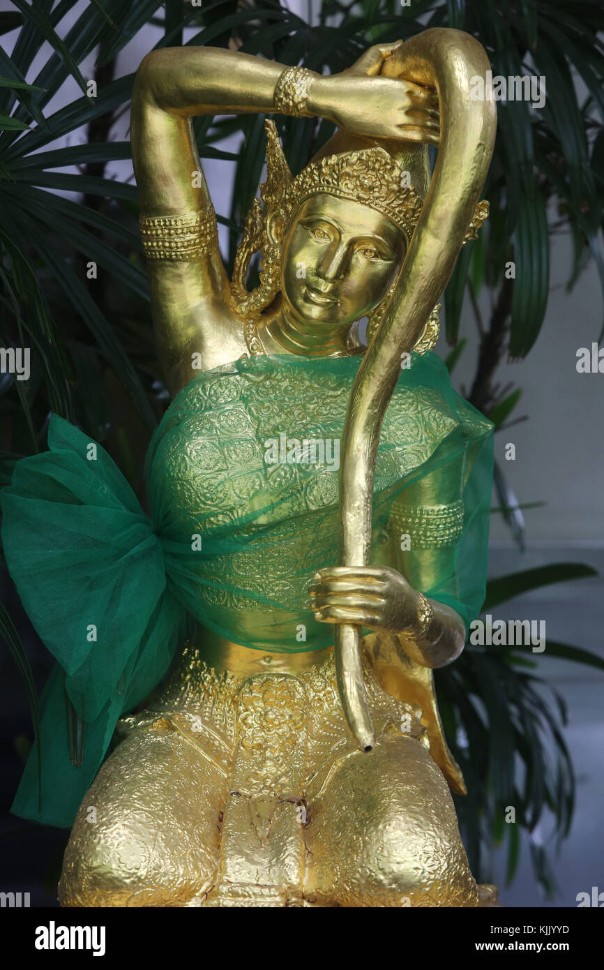 Nang Thoranee or Mae Thoranee: 'lady earth' or 'mother earth.' Statue in wat Chai Mongkhon, Hua - Stock Image
