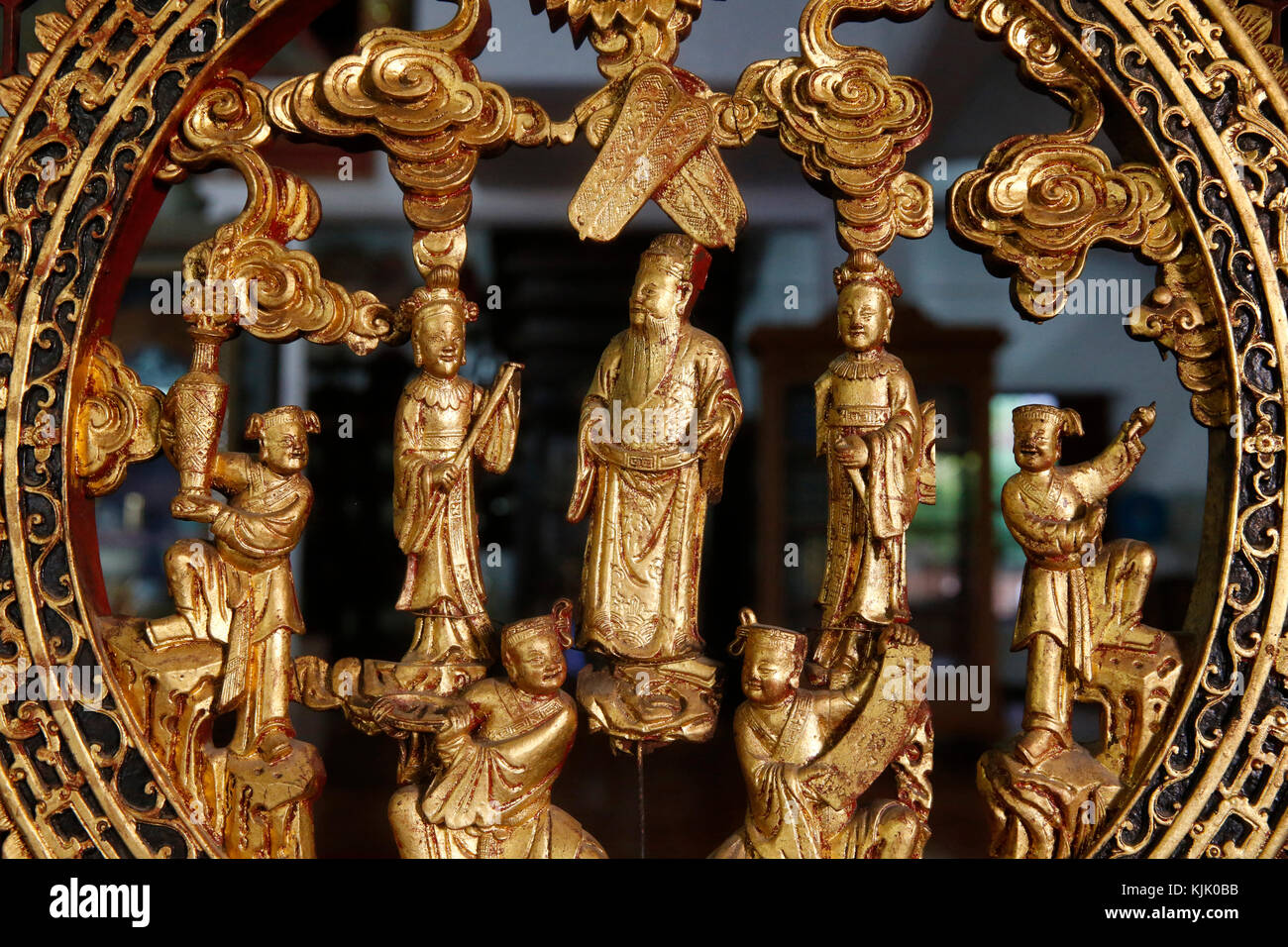 Wat Chedi Luang, Chiang Mai. Art work in the Buddhist museum. Thailand. - Stock Image