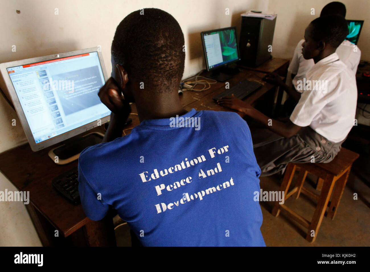 Anaka senior secondary school. The computers have been purchased with a 3 million UGS loan from from UMF microfinance. - Stock Image