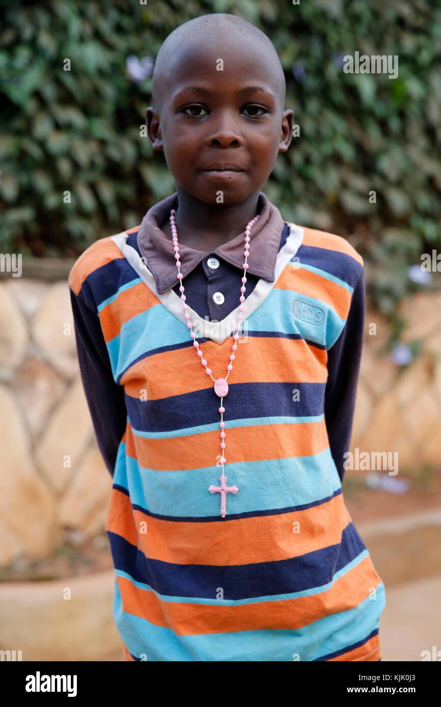 Catholic boy. Uganda. - Stock Image