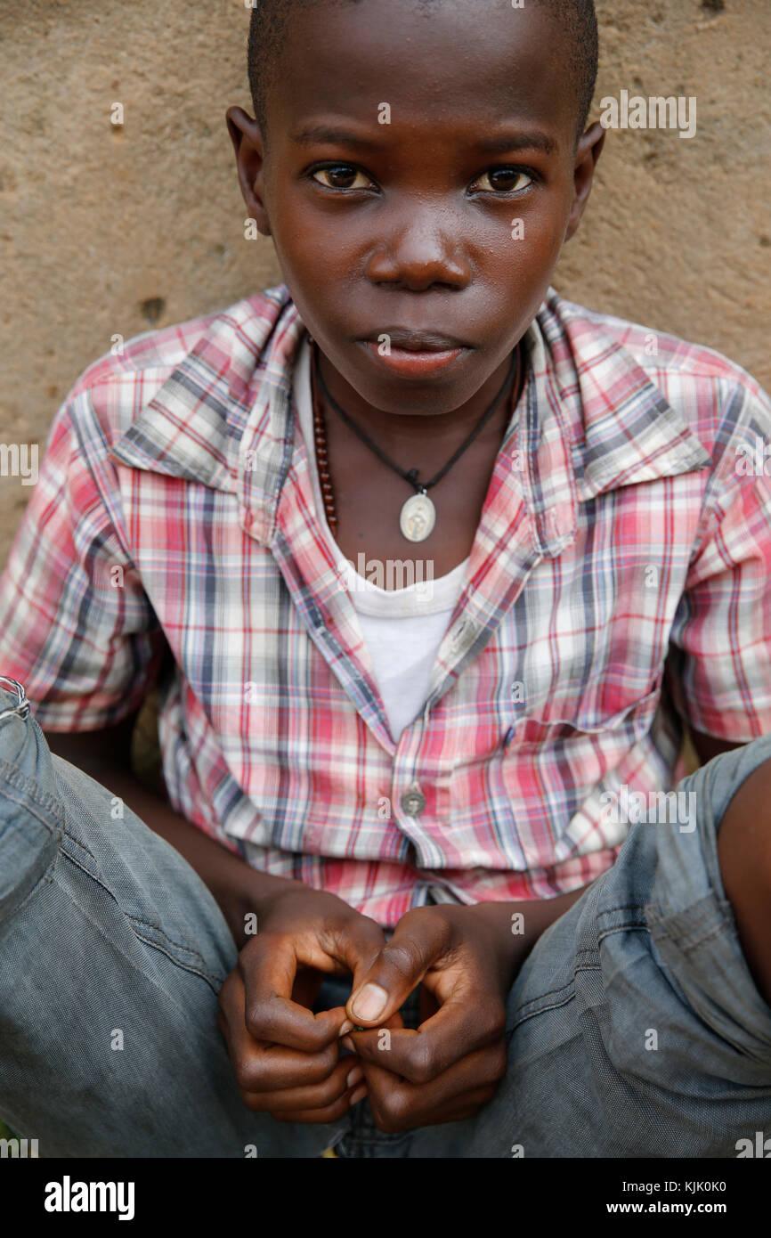 Ugandan catholic boy. Uganda. - Stock Image