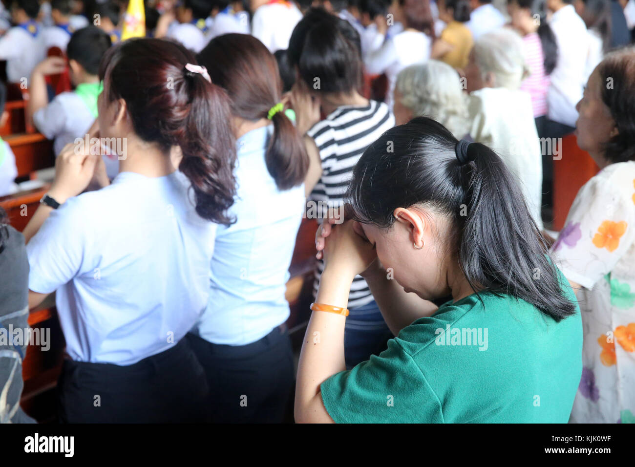 Catholic church. Sunday mass.  Vietnam. - Stock Image