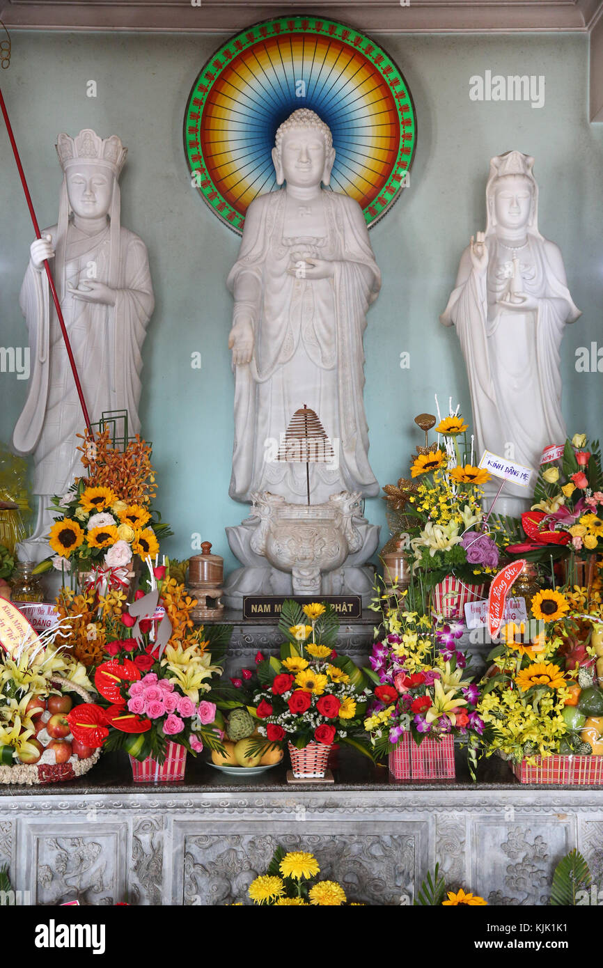 Linh Ung buddhist pagoda.  Altar with Buddha statues.  Danang. Vietnam. - Stock Image