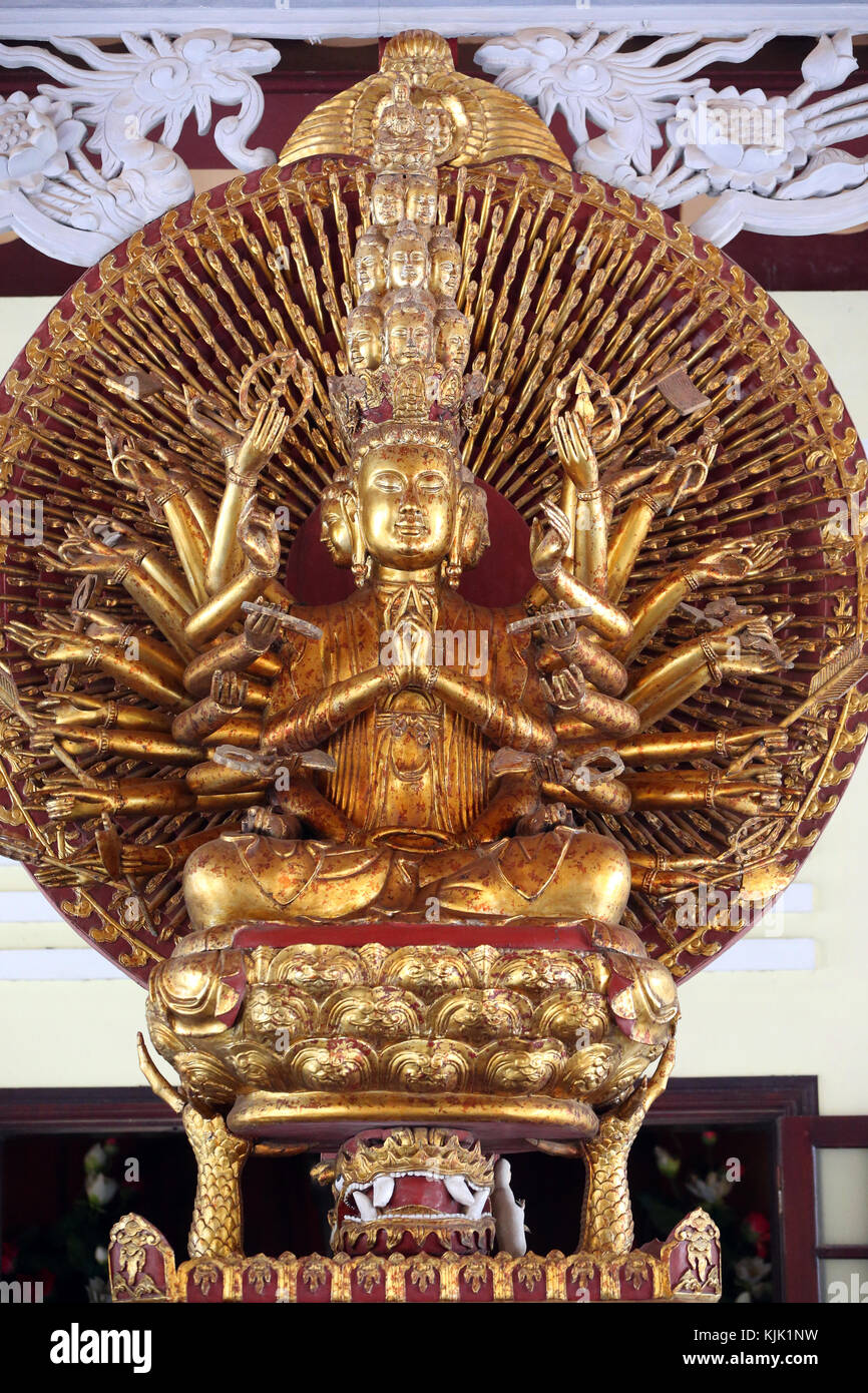 Linh Ung buddhist pagoda.  Thousand-armed Avalokitesvara, the Bodhisattva of Compassion. Statue.  Danang. Vietnam. Stock Photo