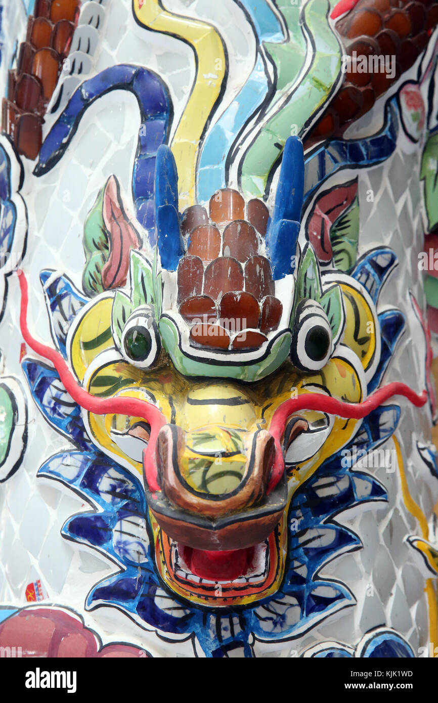 Linh Phuoc Buddhist Pagoda.  Chinese dragon traditionally symbolize potent and auspicious powers.  Dalat. Vietnam. - Stock Image