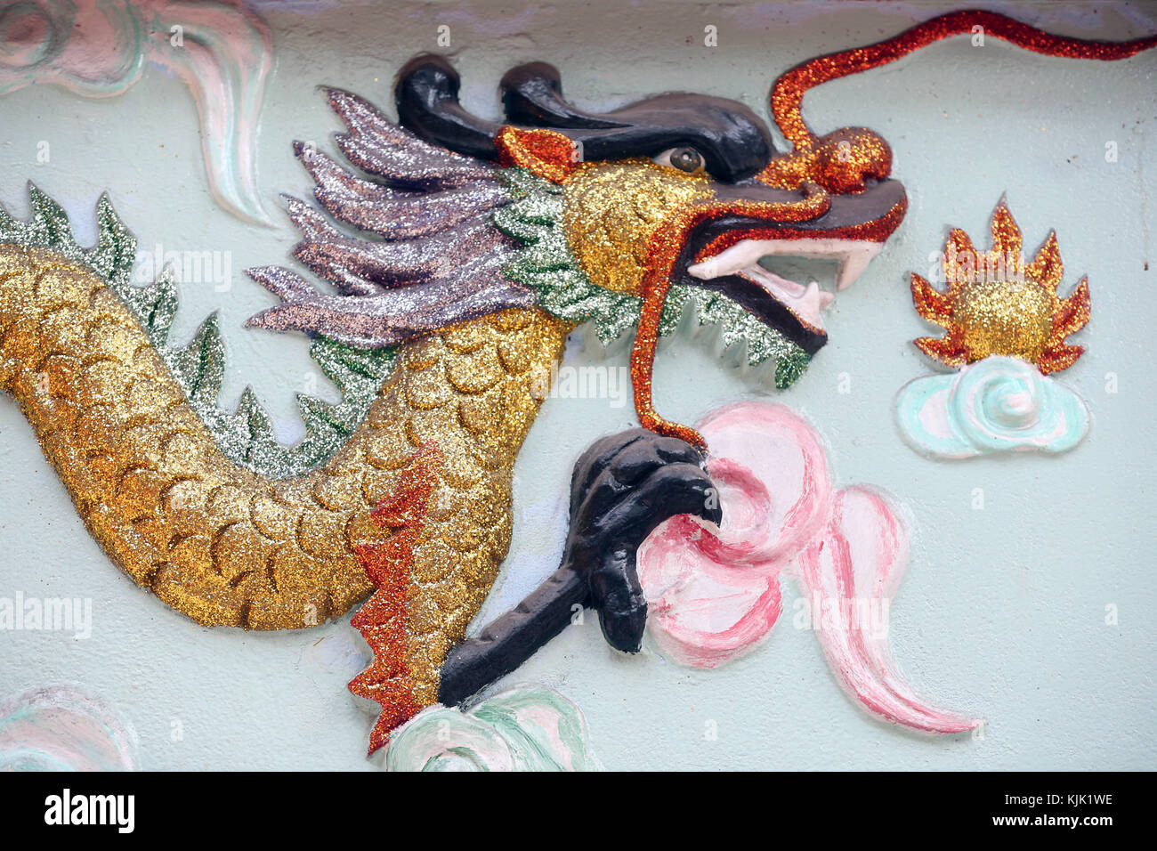 Chinese dragon traditionally symbolize potent and auspicious powers.  Ho Chi Minh City.  Vietnam. - Stock Image