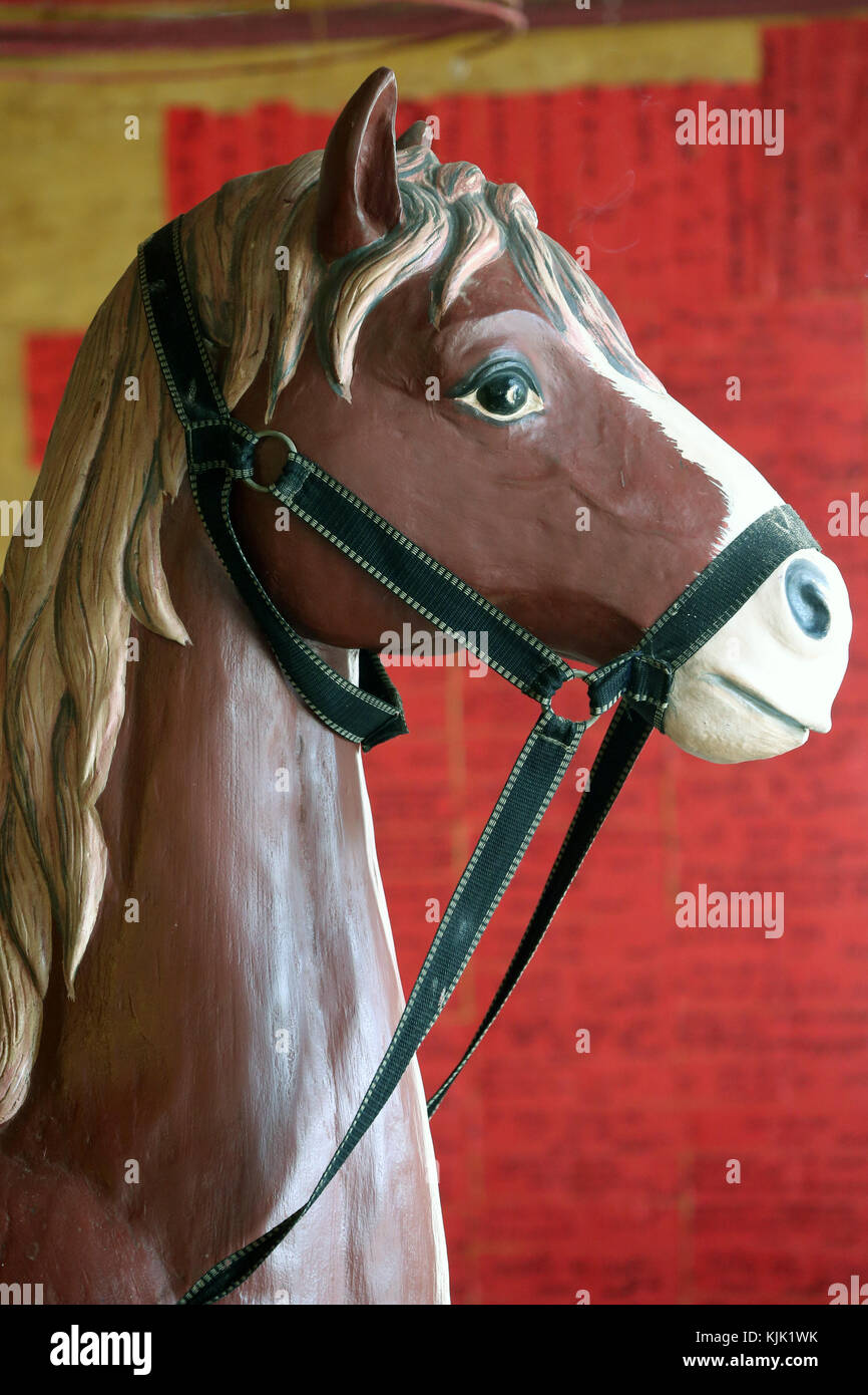 The Quang Trieu (Cantonese) Assembly Hall. Horse.  Hoi An. Vietnam. - Stock Image