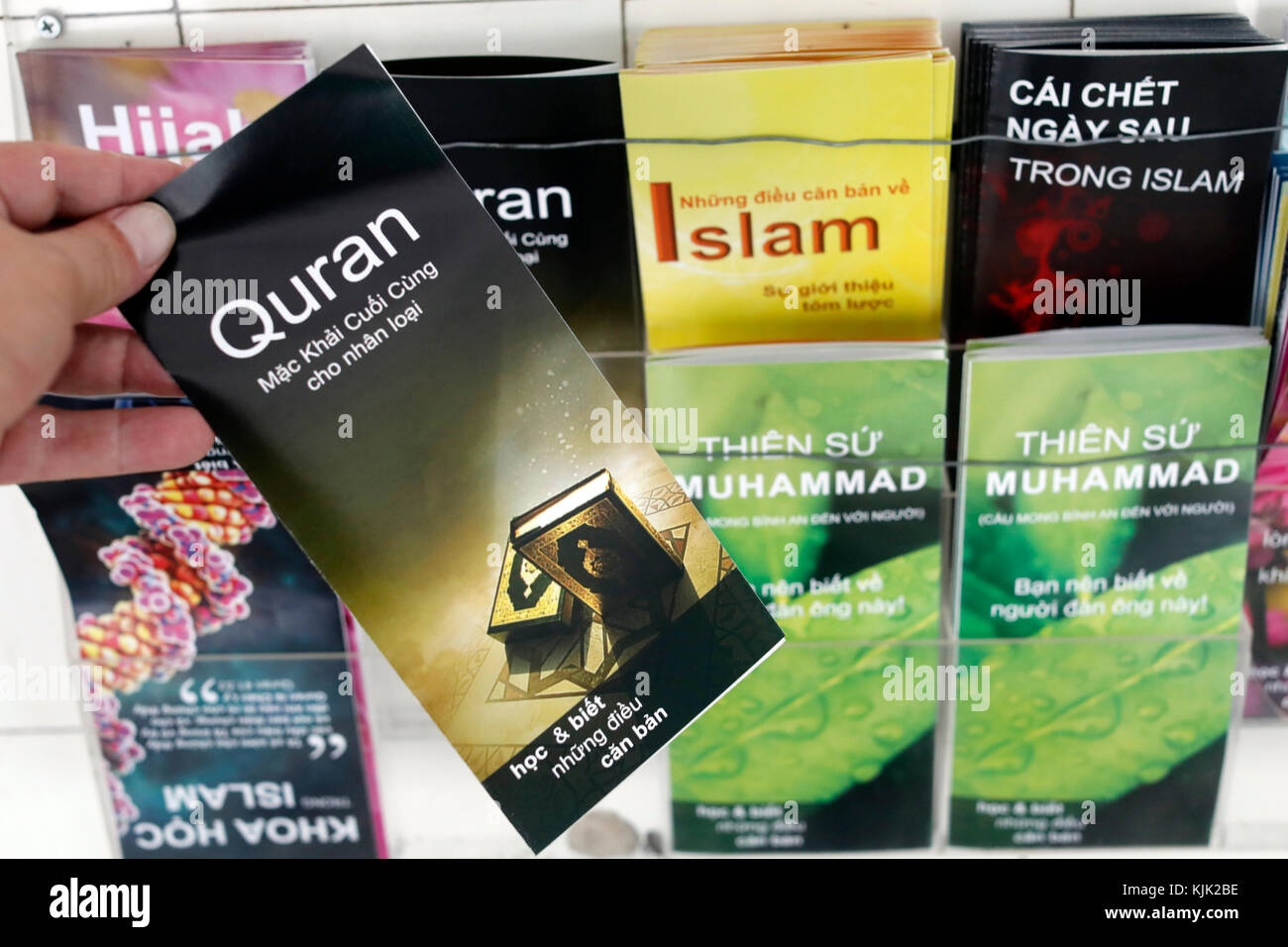Saigon Central Mosque. Brochures about Islam.  Ho Chi Minh City.  Vietnam. - Stock Image