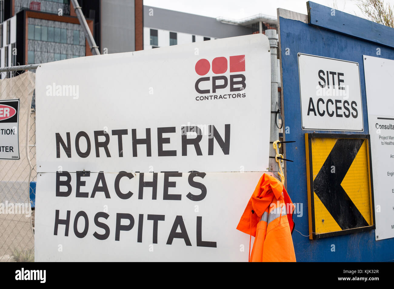 Construction of the Northern Beaches Hospital Frenchs Forest Sydney for Healthscope who will operate this hospital - Stock Image