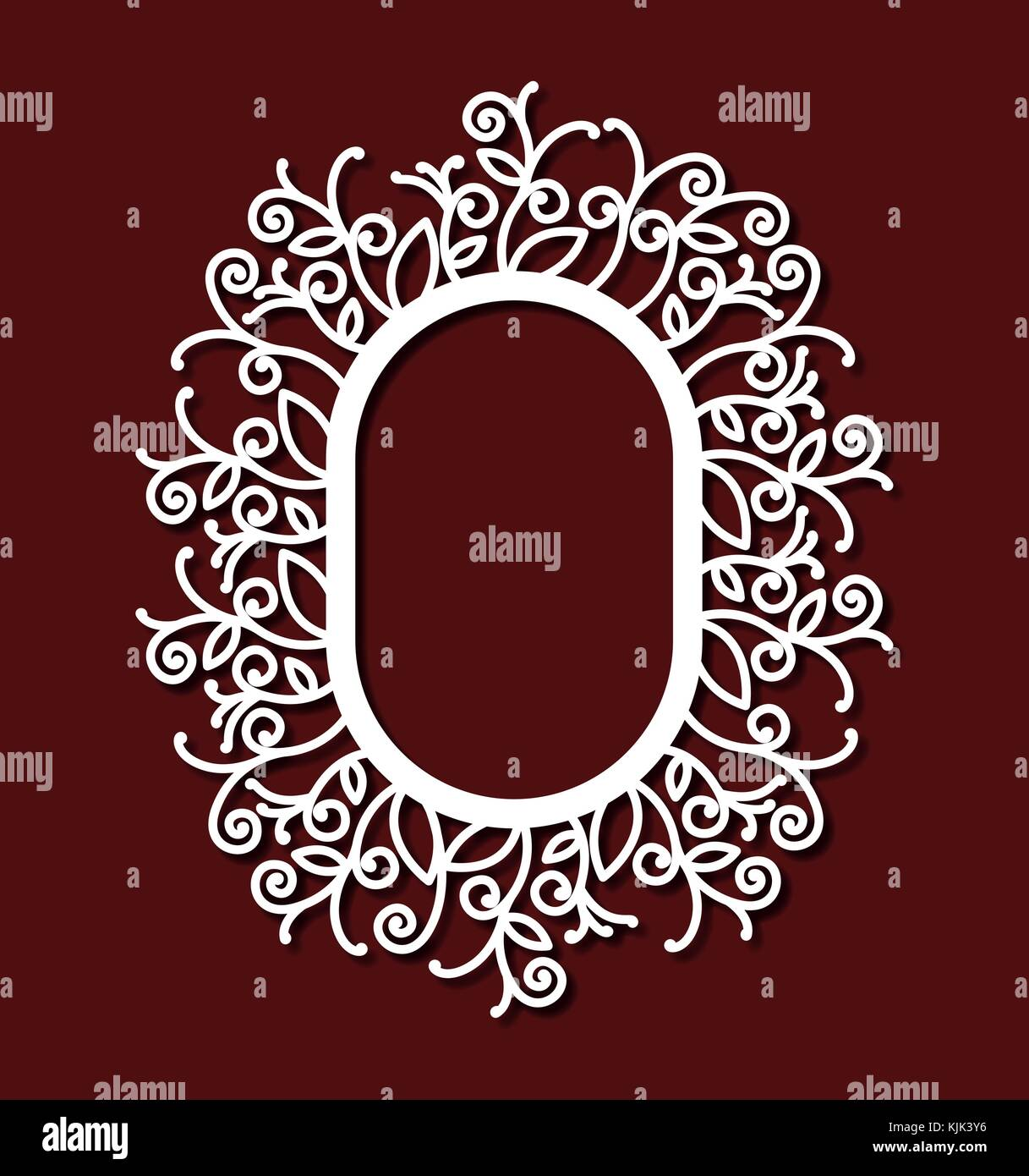 5b1f45451fdb laser cutting abstract oval frame with floral external border in dark red  background - Stock Image