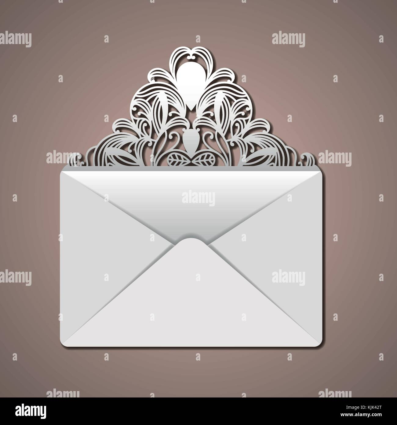 laser cutting in flap of envelope with decorative forms in thistle color background - Stock Image