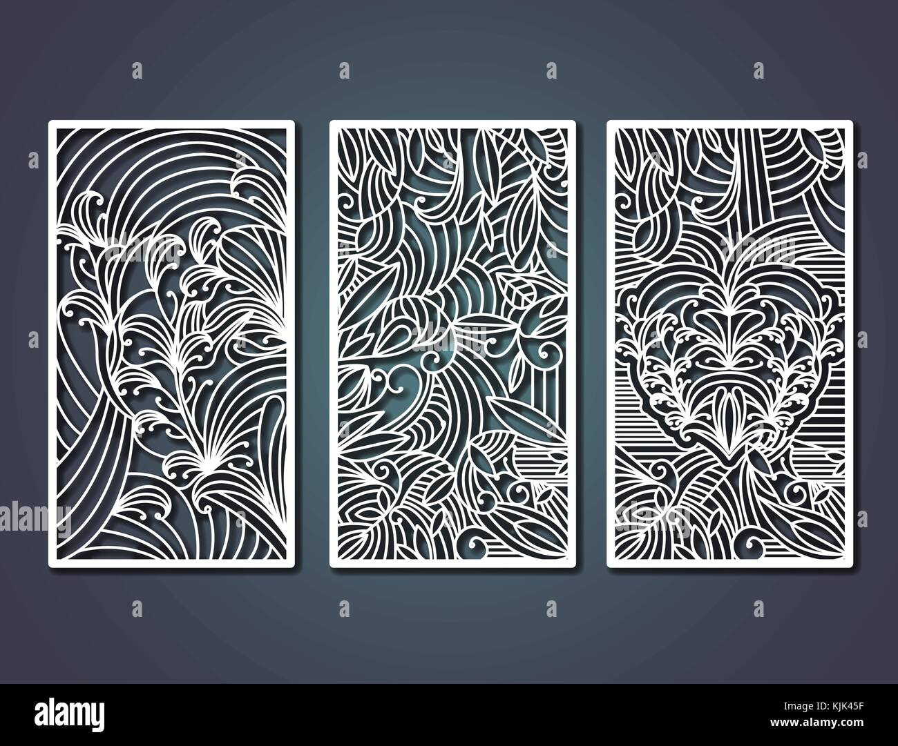 a31cdb73511e laser cutting rectangular frames with decorative floral forms in steel blue  color background - Stock Vector