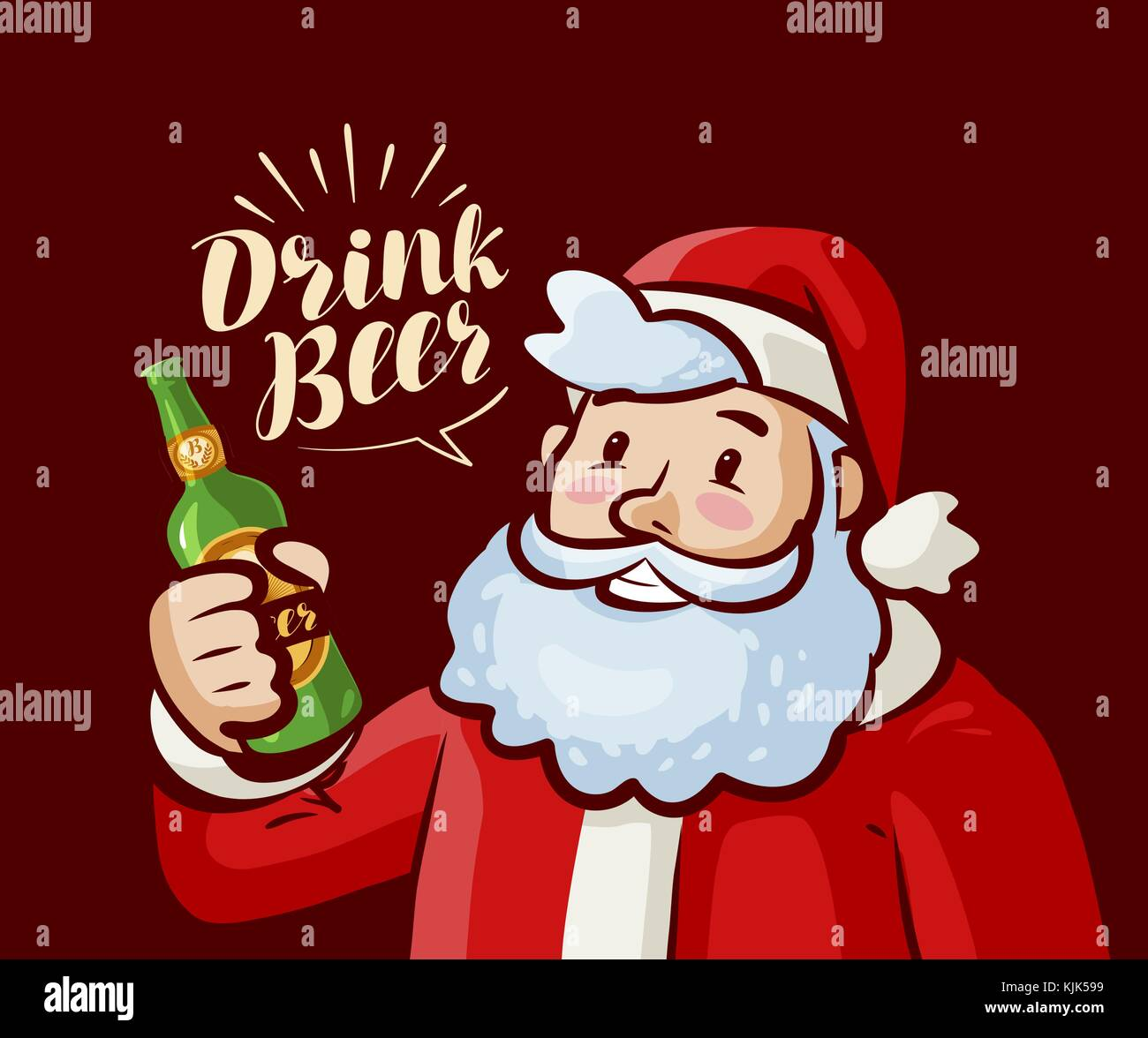 b8731d8a57505 Santa Claus with bottle of beer in hand. Christmas