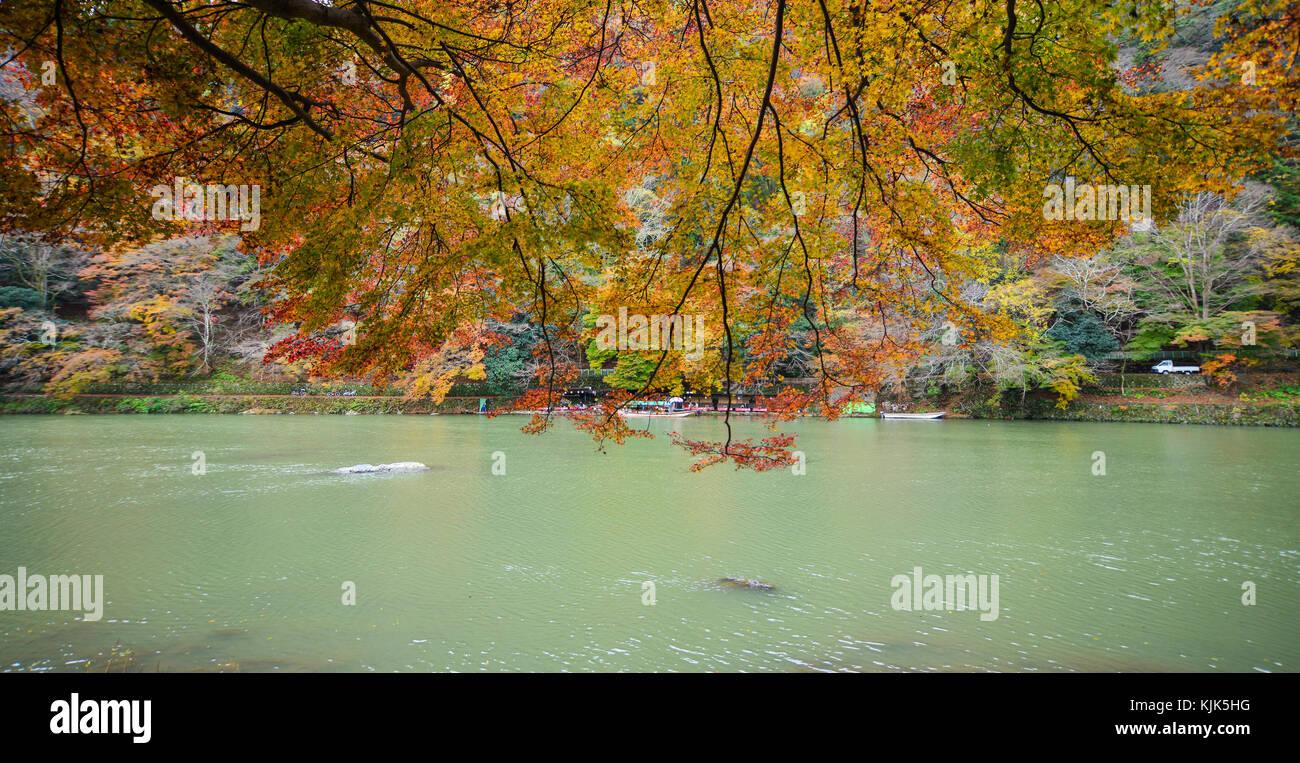 Hozu River at Arashiyama in Kyoto, Japan. Arashiyama is a nationally designated Historic Site and Place of Scenic - Stock Image