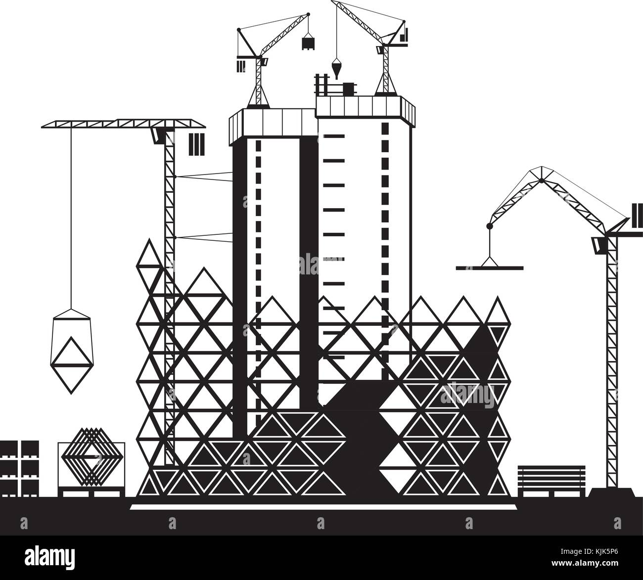 Construction of high rise buildings - vector illustration - Stock Vector