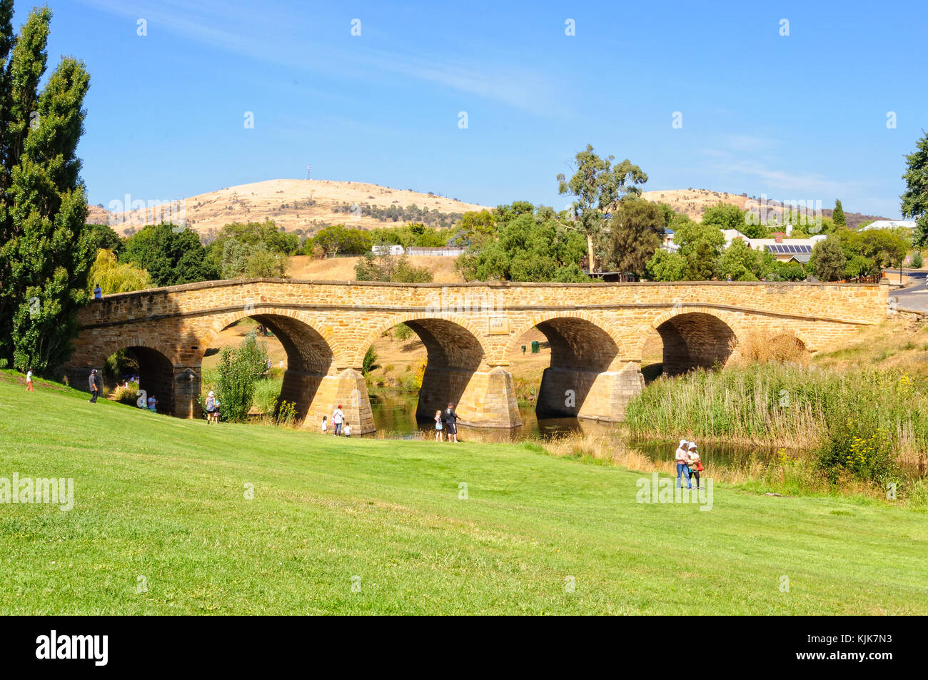 Richmond Bridge, built by convicts in  the 1820s, is the oldest surviving stone span bridge in Australia - Richmond, - Stock Image