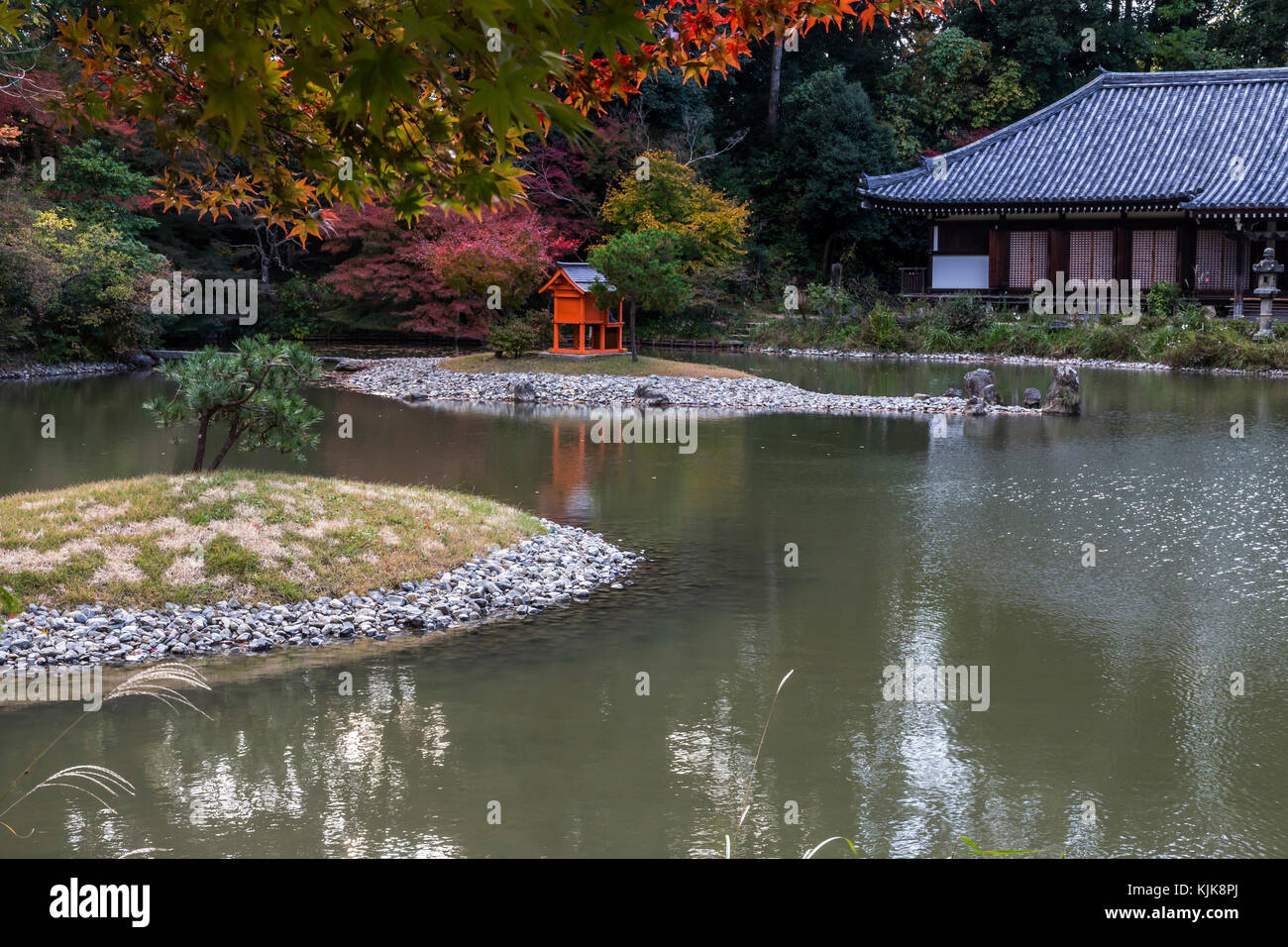 Joruri-ji Temple is ideally set in the hills above Nara and the only existing Heian Period Amida Hall with nine - Stock Image