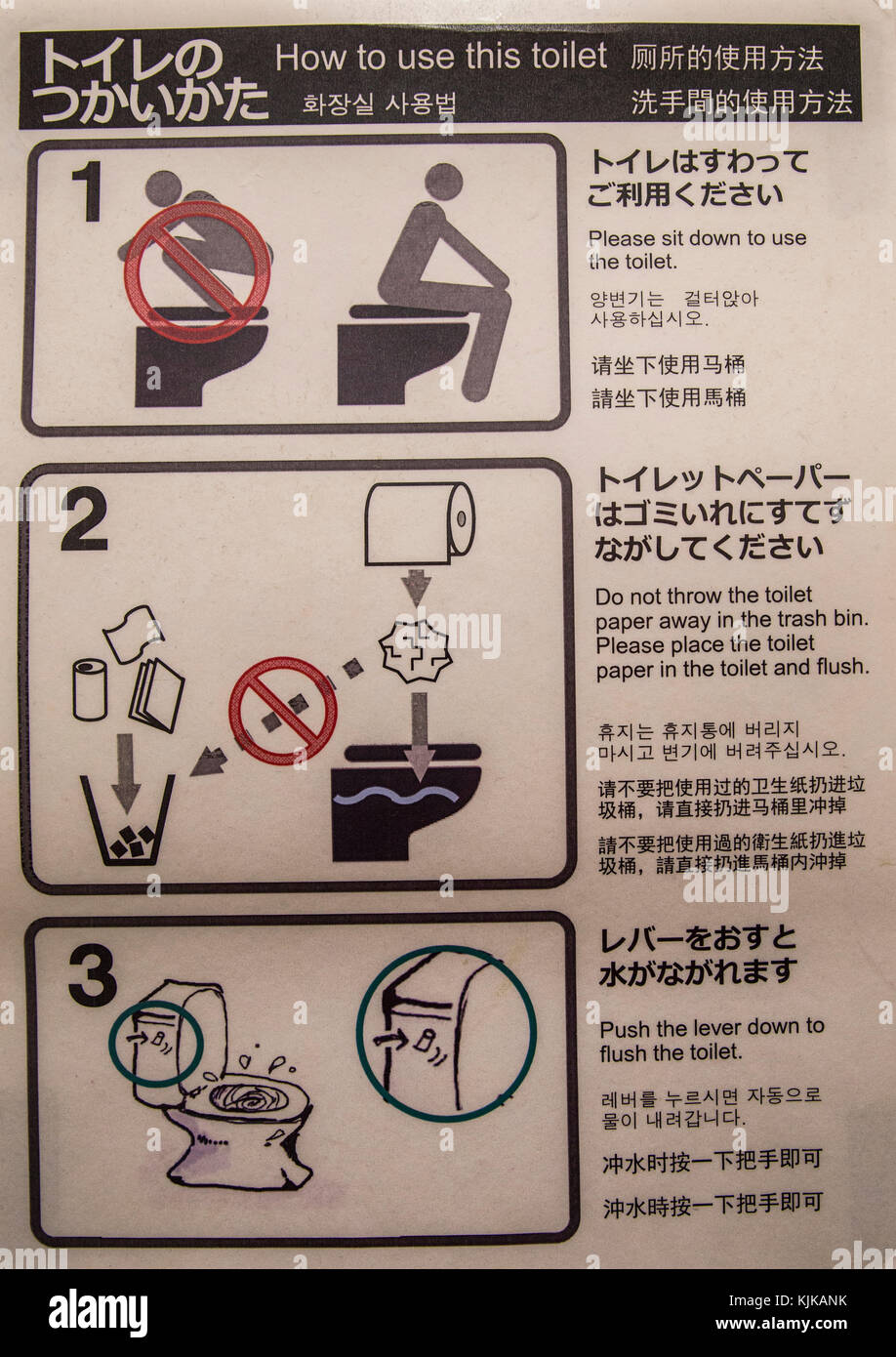 Toilet instructions are given, in several languages.  Japan makes some of the world's most sophisticated toilets. Stock Photo