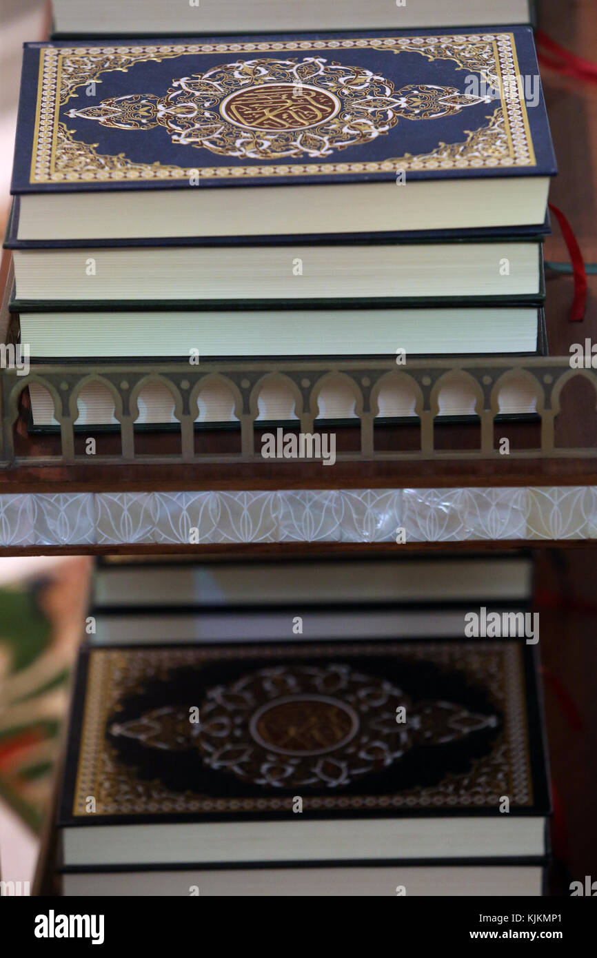 Detail of copies of The Koran inside Sheikh Zayed Grand Mosque, Abu Dhabi. United Arab Emirates. - Stock Image