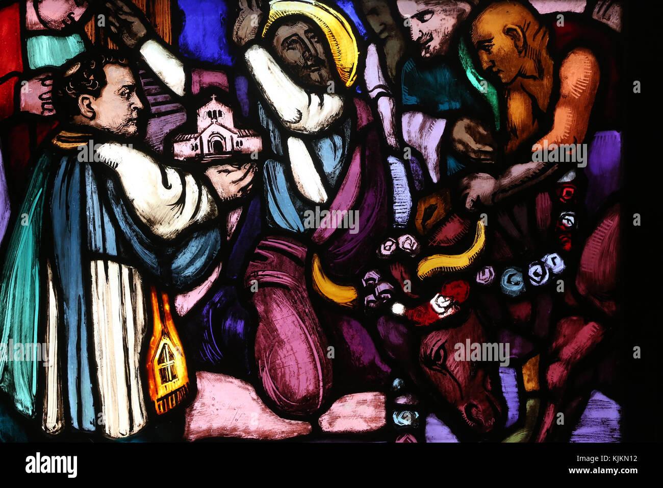 Saint Paul church.  Stained glass window.  Paul the apostle. Conversion on the way to Damascus.  Geneva. Switzerland. - Stock Image