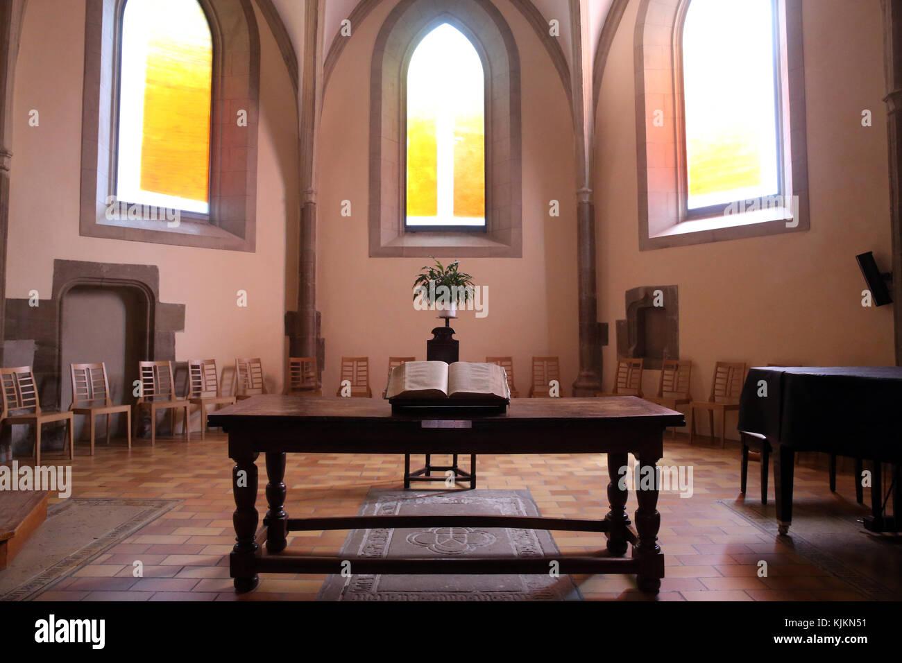 Calvin Auditory. Bible on the altar.  Geneva. Switzerland. - Stock Image