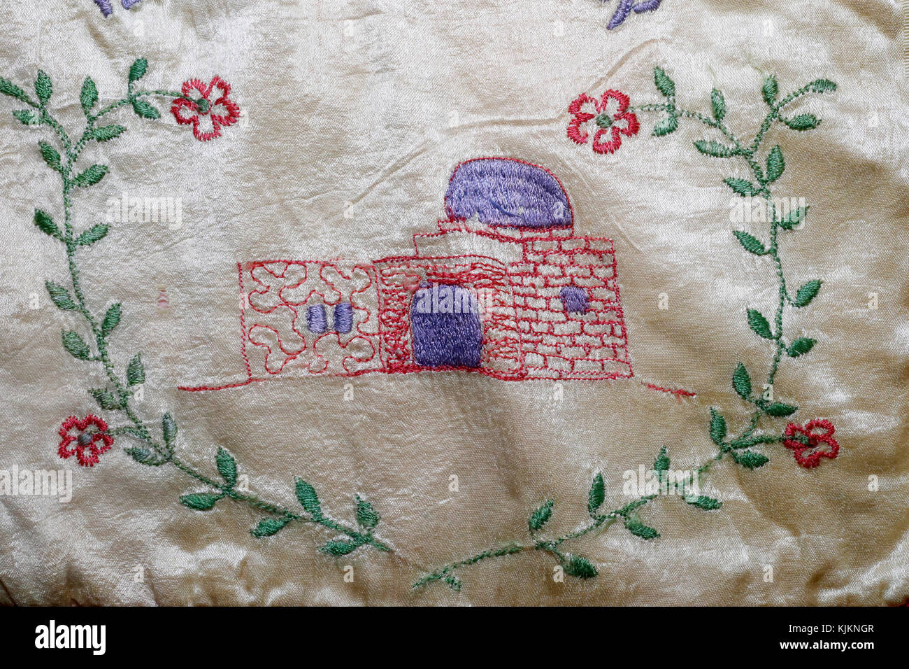 Old embroidered Talilit matching bag.  Rachel's Tomb.  Switzerland. - Stock Image