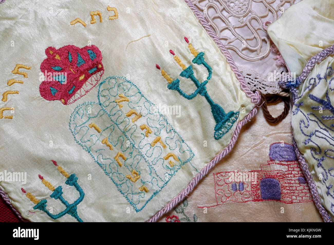 Old embroidered Talilit matching bags.  Ten commandments.  Switzerland. - Stock Image